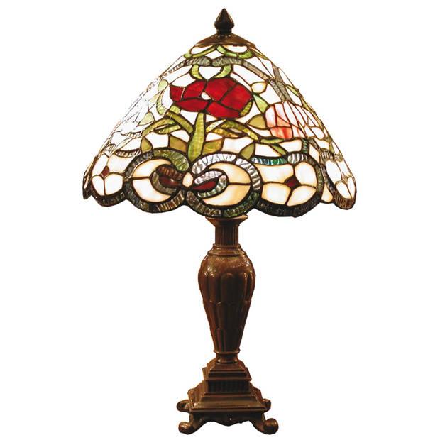Clayre & eef tafellamp met tiffanykap compleet 47 x ø 32 cm - bruin, wit, groen, rood - ijzer, glas