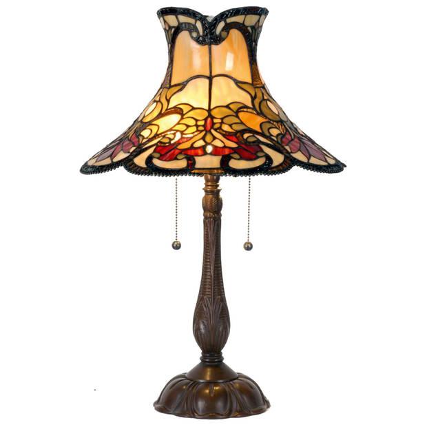 Clayre & eef tafellamp met tiffanykap compleet 66 x ø 51 cm - bruin, rood, geel, multi colour - ijzer, glas