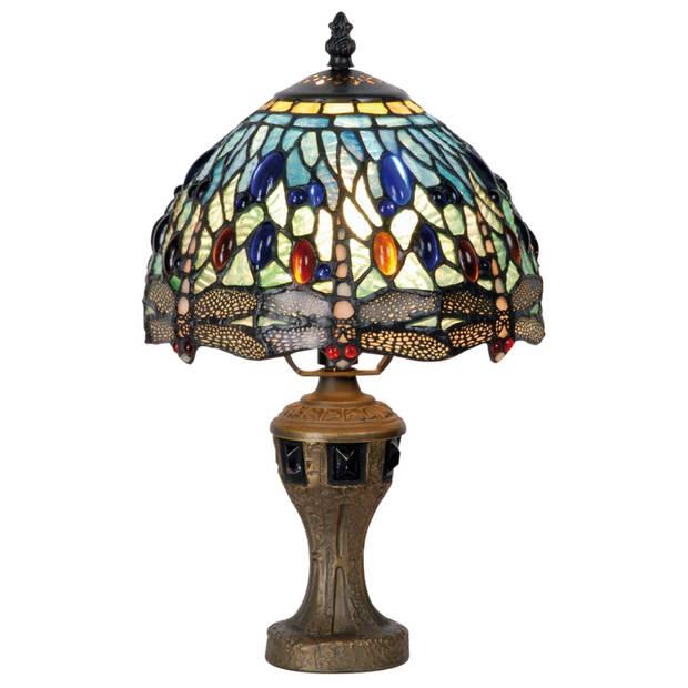 Clayre & eef lampje met tiffanykapje dragonfly 33xø21cm 1x e14 max 40w. - blauw, brons, goud - ijzer, glas