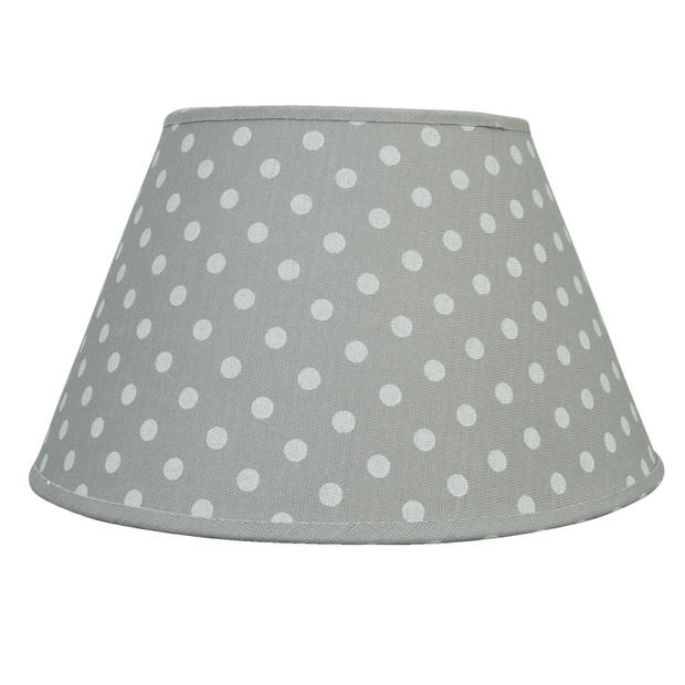 Clayre & eef lampenkap ø 35x20 cm/e27 - grijs - katoen
