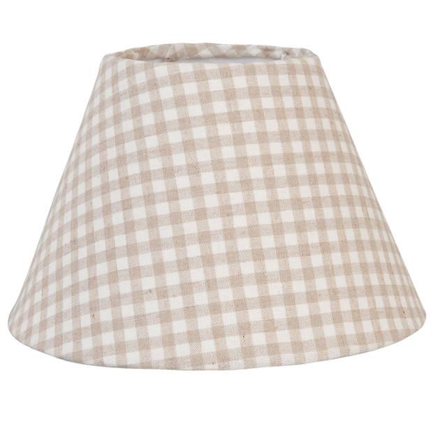 Clayre & eef lampenkap ø 23x15 cm/e27 - wit, beige - katoen