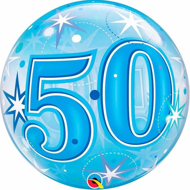 Folie helium ballon 50 jaar blauw 45 cm