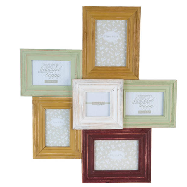 Clayre & eef fotolijst (6) 57x5x64 cm/ 10x10 cm/10x15 cm/13x18 cm - wit, groen, rood, geel - hout