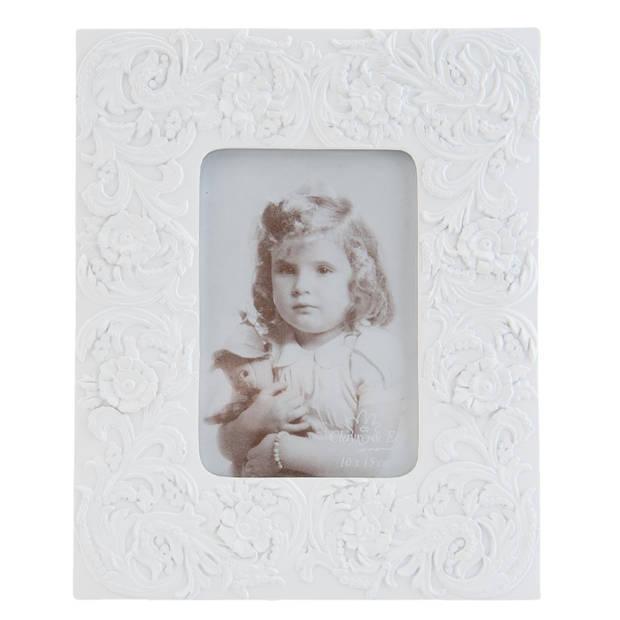 Clayre & eef fotolijst 20x1x25 cm / 9x14 cm - wit - kunststof