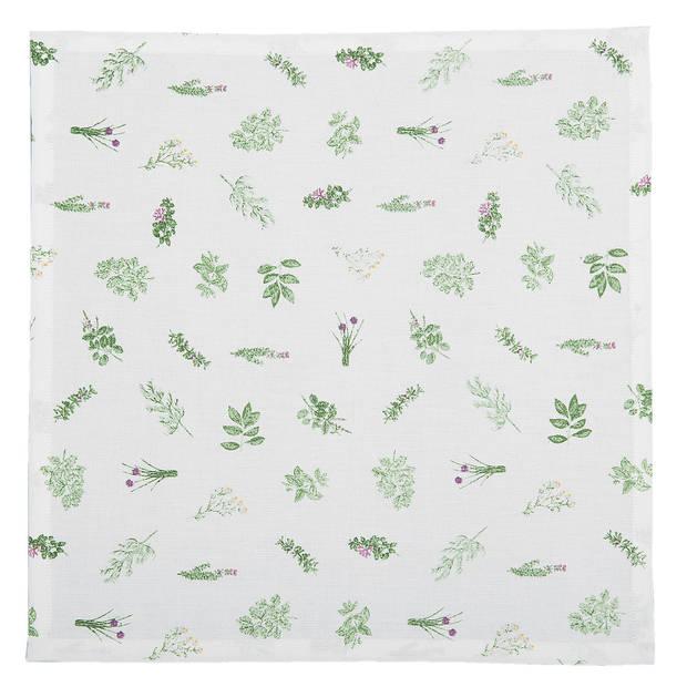 Clayre & eef servetten (6) 40x40 cm spl - wit, groen - katoen, 100% katoen