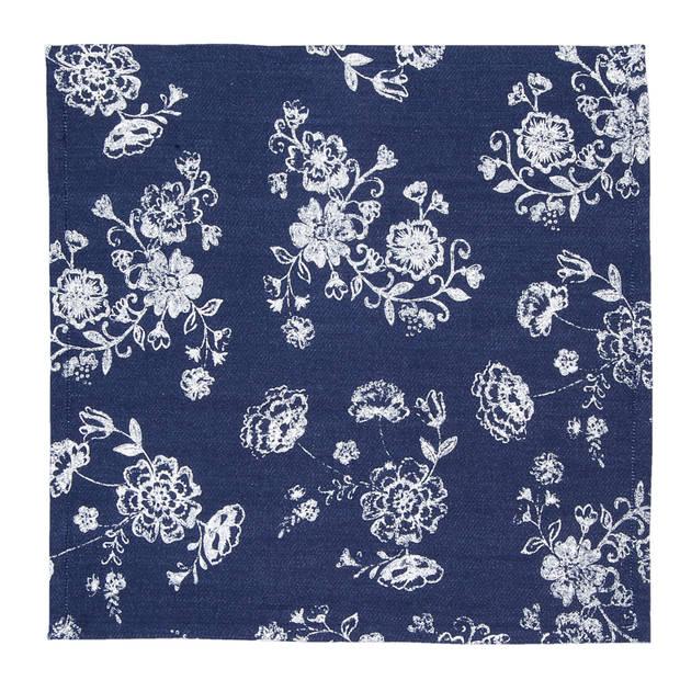 Clayre & eef servetten (6) 40x40 cm spl - wit, blauw - katoen, 100% katoen