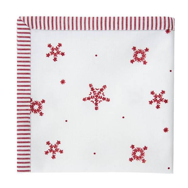 Clayre & eef servetten (6) 40x40 cm spl - wit, rood - katoen, 100% katoen