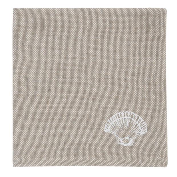 Clayre & eef servetten (6) 40x40 cm spl - wit, beige - katoen, 100% katoen