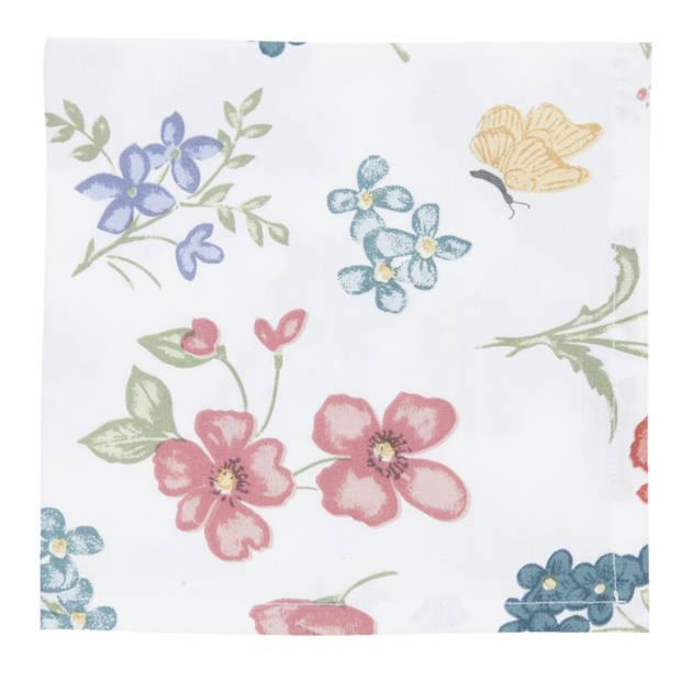 Clayre & eef servetten (6) 40x40 cm spl - wit, blauw, roze, multi colour - katoen, 100% katoen