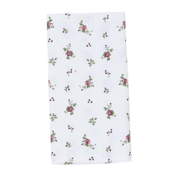Clayre & eef servetten (6) 40x40 cm spl - wit, groen, rood - katoen, 100% katoen