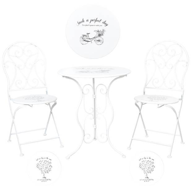 Clayre & eef tafel + 2 stoelen ø 60x70/40x40x92 cm - wit - metaal