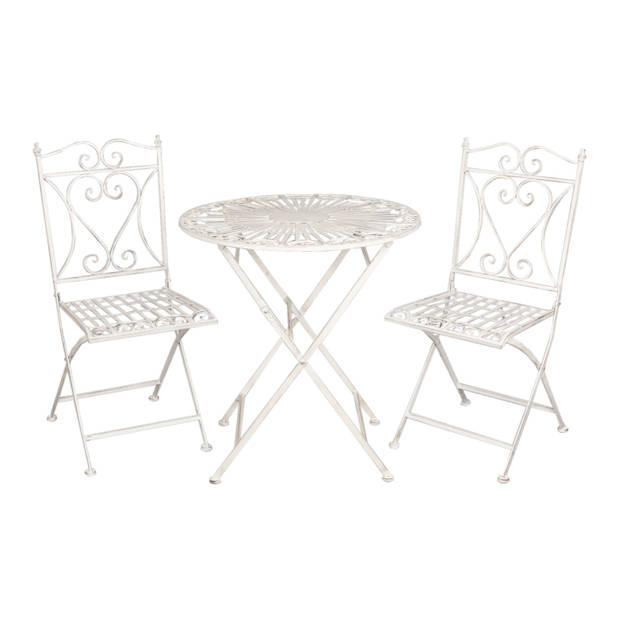 Clayre & eef tafel + 2 stoelen ø 70x75/40x47x94 cm - wit - metaal