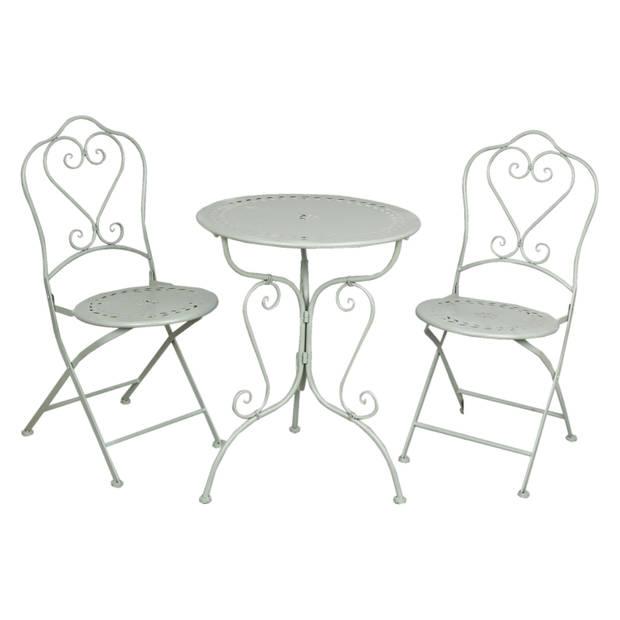 Clayre & eef tafel + 2 stoelen ø 62x73/48x40x93 cm - groen - metaal