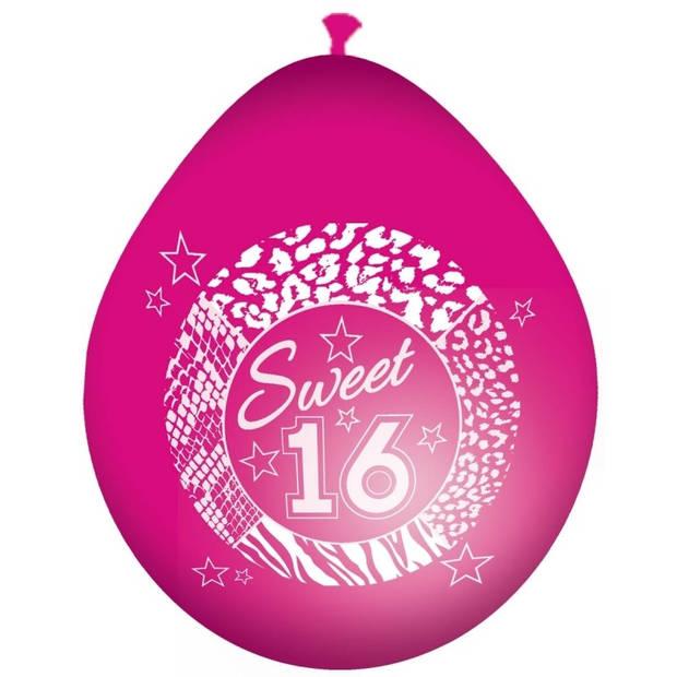 8x Roze sweet 16 leeftijd ballonnen