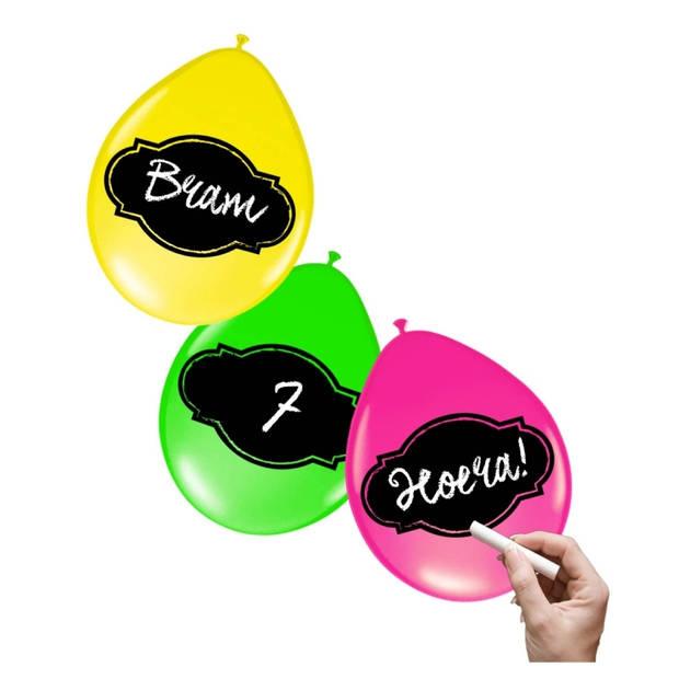 6x stuks Neon kleur ballonnen beschrijfbaar
