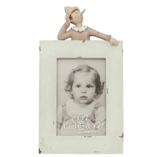 Clayre & eef fotolijst 15x27 cm / 10x15 cm - wit, roze - kunststof