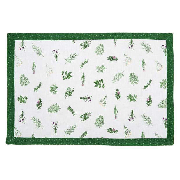 Clayre & eef placemat 6 stuks 48x33 spl - wit, groen - katoen
