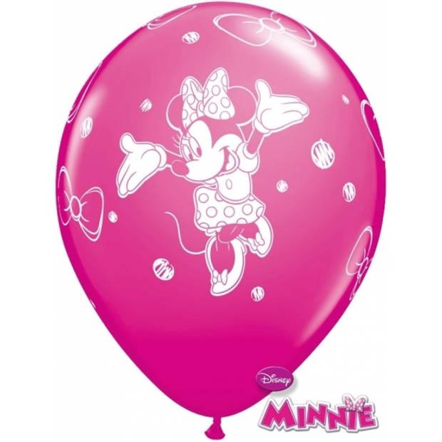 Minnie Mouse kinder feestje thema ballonnen 6x stuks - Feestartikelen/versieringen