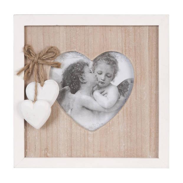 Clayre & eef fotolijst 17x17 cm / 10x10 cm - bruin, wit - hout