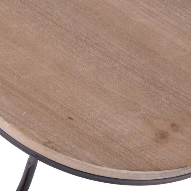 Clayre & eef etagère 35x33x29 cm - bruin, zwart - hout, ijzer