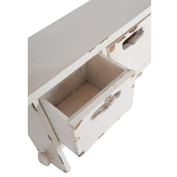 Clayre & eef keukenrolhouder 30x13x22 cm - wit - hout