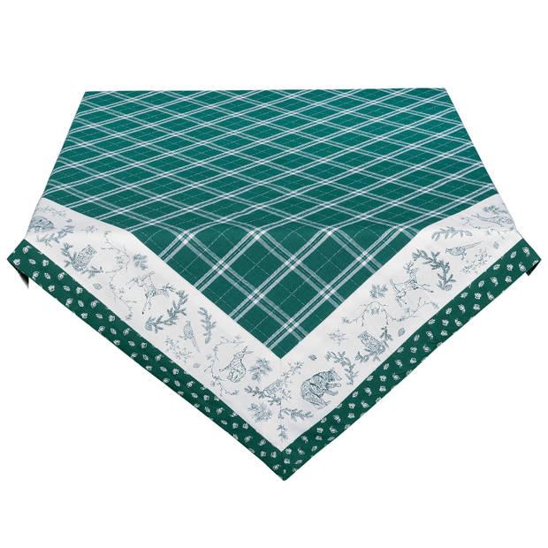 Clayre & eef tafelkleed 150x150 cm - wit, groen - katoen, 100% katoen