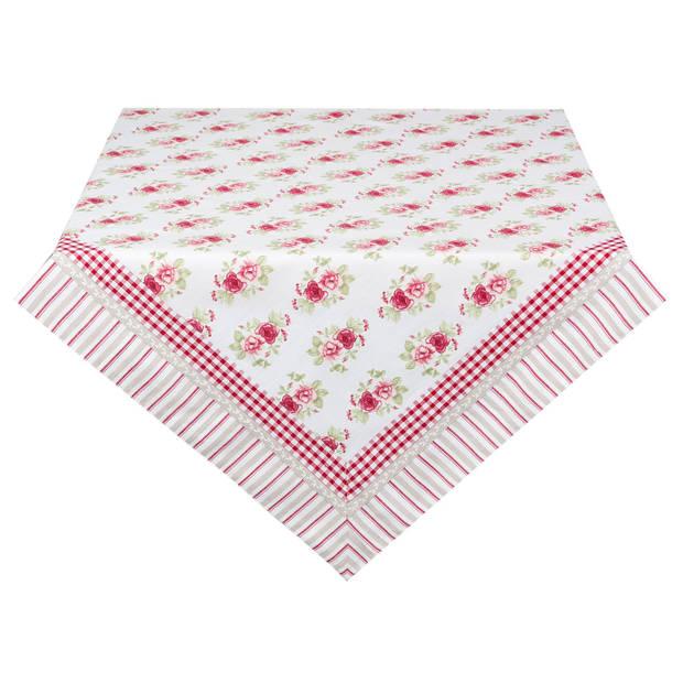 Clayre & eef tafelkleed 130x180 cm - wit, groen, rood, roze - katoen, 100% katoen