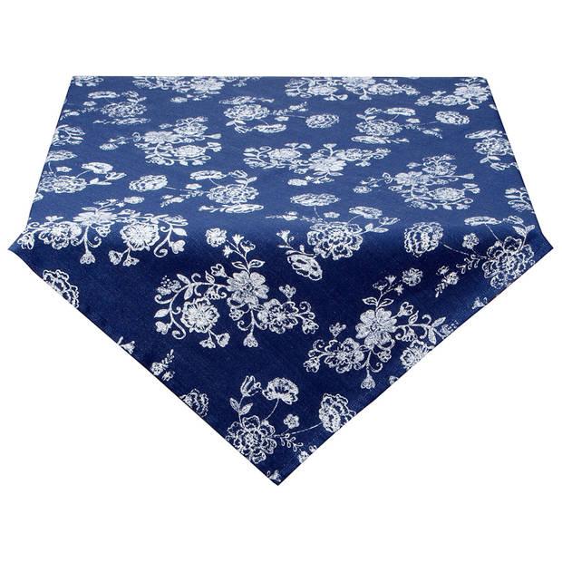 Clayre & eef tafelkleed 150x150 cm - wit, blauw - katoen, 100% katoen
