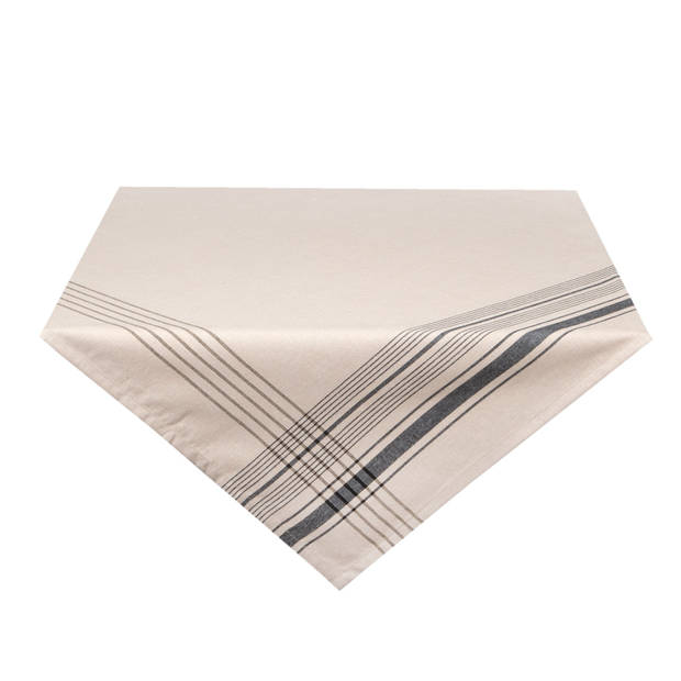 Clayre & eef tafelkleed 100x100 cm - wit, zwart - katoen, 100% katoen