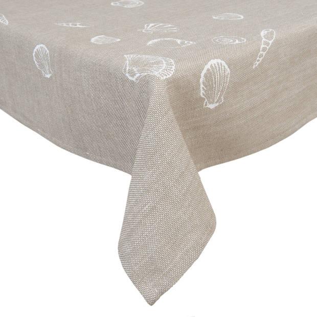 Clayre & eef tafelkleed 100x100 cm - beige - katoen, 100% katoen