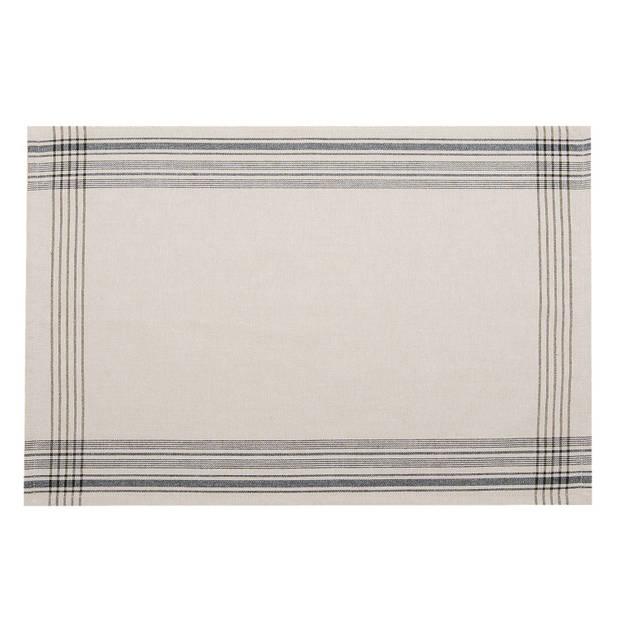 Clayre & eef placemat 6 stuks 48x33 spl - wit, zwart - katoen