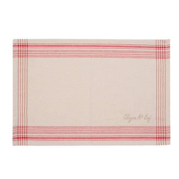 Clayre & eef placemat 6 stuks 48x33 spl - wit, rood - katoen