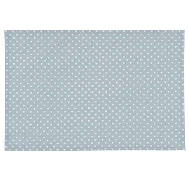 Clayre & eef placemat 6 stuks 48x33 spl - wit, blauw - katoen