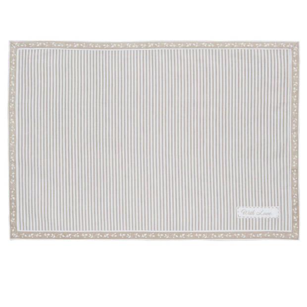 Clayre & eef placemat 6 stuks 48x33 spl - wit, beige - katoen