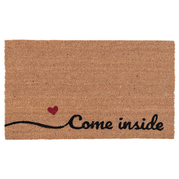 Clayre & eef deurmat 75x45x2 cm - bruin, rood, zwart - kokosvezel