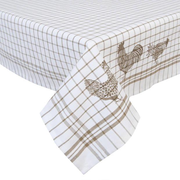 Clayre & eef tafelkleed 100x100 cm - wit, beige - katoen, 100% katoen