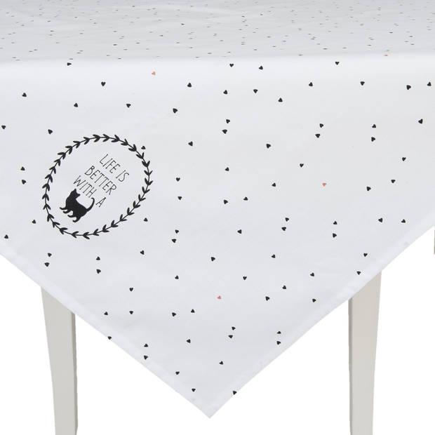 Clayre & eef tafelkleed 100x100 cm - zwart, crème - katoen, 100% katoen