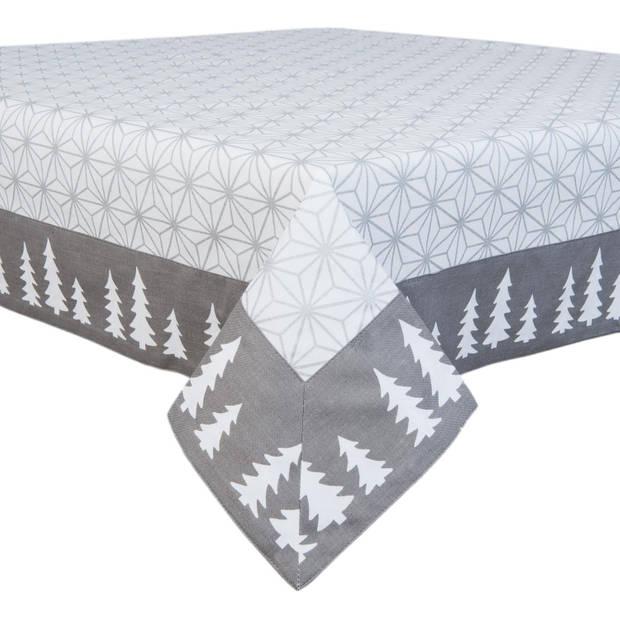 Clayre & eef tafelkleed 150x150 cm - grijs, wit - katoen, 100% katoen