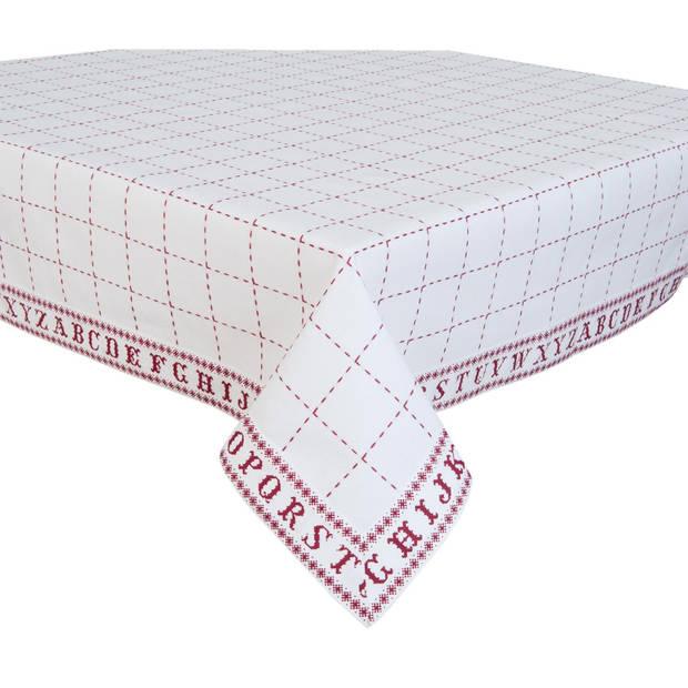 Clayre & eef tafelkleed 130x180 cm - wit, rood - katoen, 100% katoen