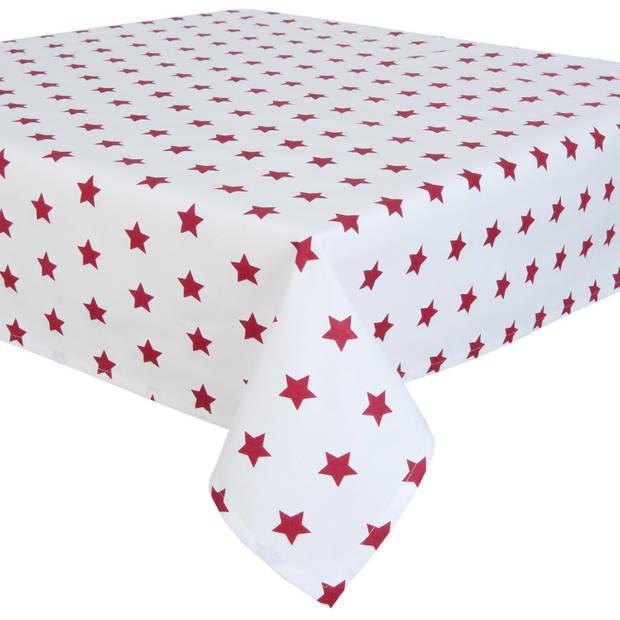 Clayre & eef tafelkleed 150x250 cm - wit, rood - katoen, 100% katoen