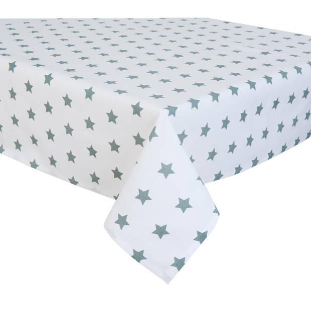Clayre & eef 150x250 tafelkleed - grijs, wit, groen - katoen, 100% katoen