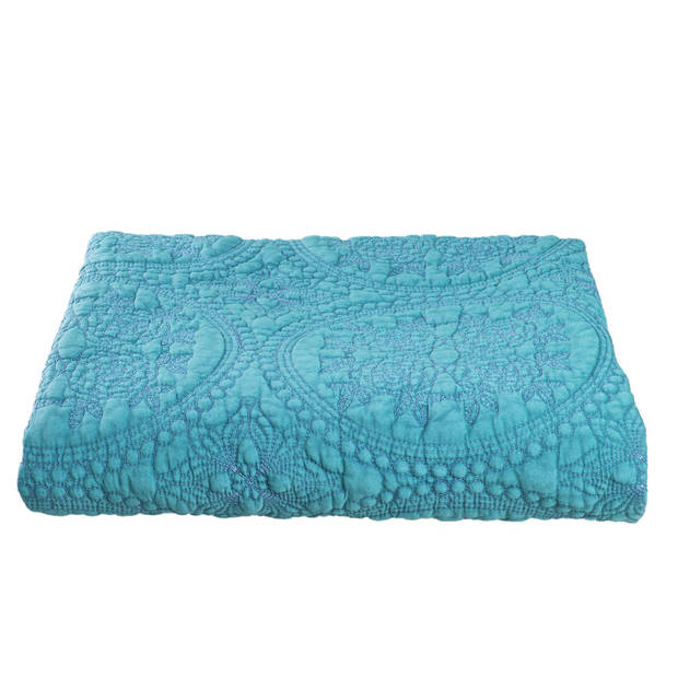 Clayre & eef plaid 150x150 - groen - polyester, 100% katoen