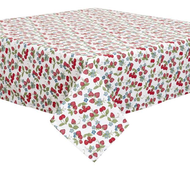 Clayre & eef tafelkleed 150x150 cm - wit, groen, rood, blauw - katoen, 100% katoen
