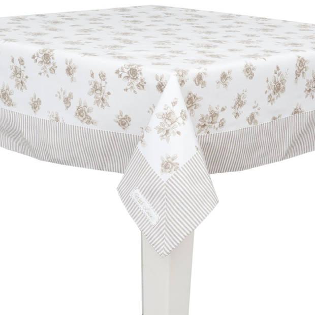 Clayre & eef tafelkleed 130x180 cm - wit, crème - katoen, 100% katoen