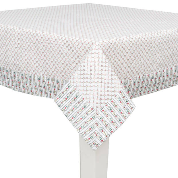 Clayre & eef tafelkleed 150x150 cm - wit, rood - katoen, 100% katoen