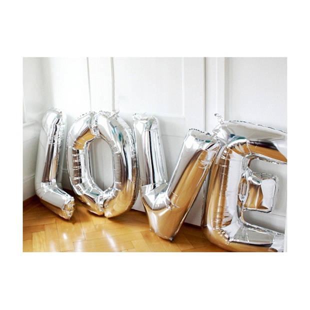 Letter D ballon zilver 86 cm
