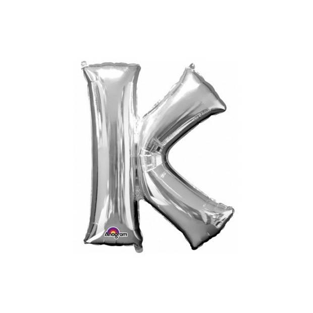 Letter K ballon zilver 86 cm