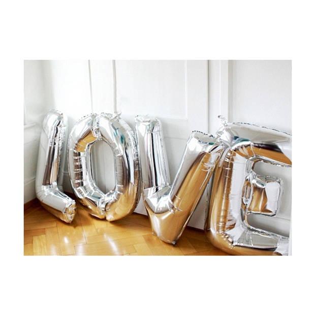 Letter V ballon zilver 86 cm