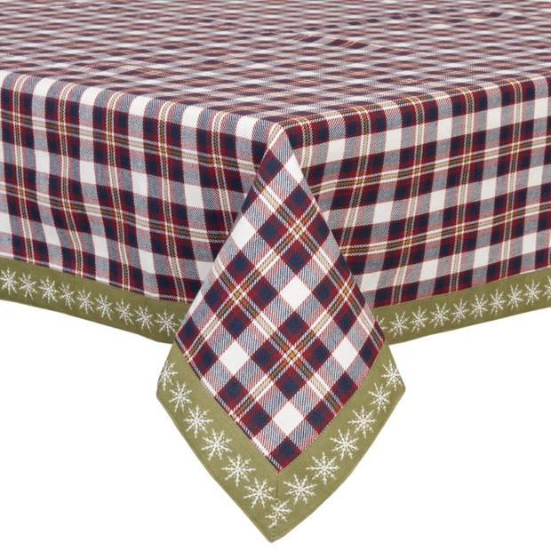 Clayre & eef tafelkleed 100x100 cm - rood, blauw, multi colour - katoen, 100% katoen