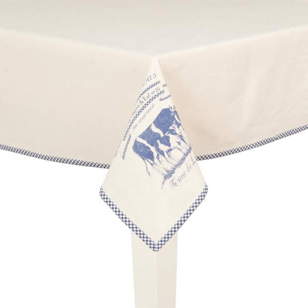 Clayre & eef tafelkleed 100x100 cm - wit, blauw, brons - katoen, 100% katoen